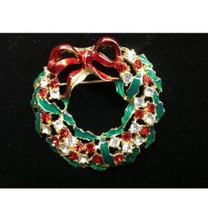 🍒 3/$25 Rhinestone Enamel Wreath Brooch